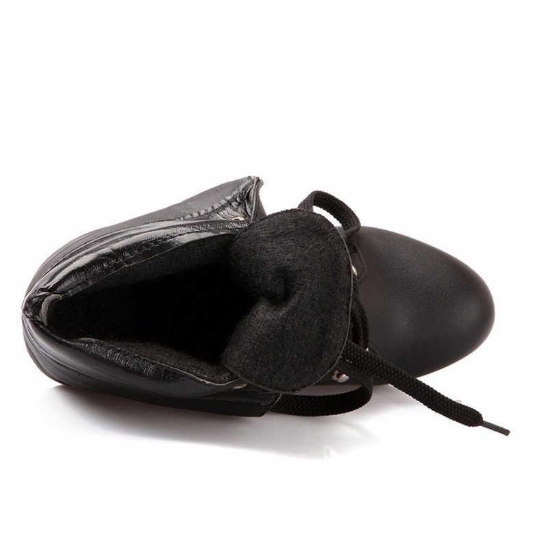 BONJOMARISA 2019 trang sức giọt Xuân Size Lớn 32-43 nữ đế cao cổ chân Giày buộc dây thêm lông giày giày cao gót giày người phụ nữ