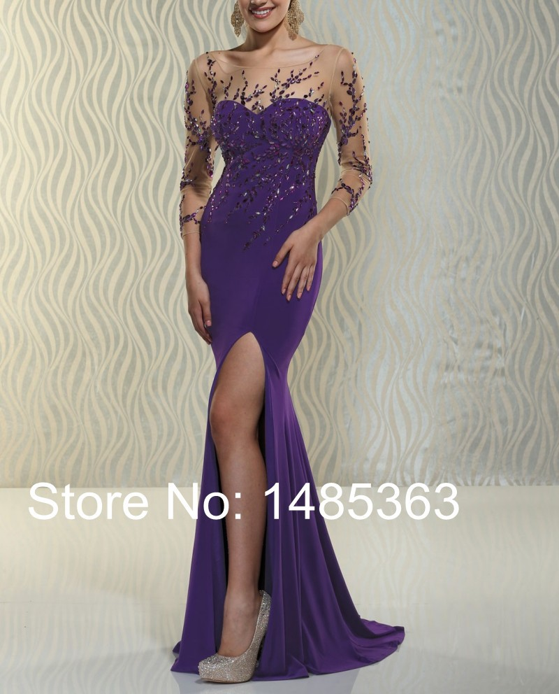 Contemporary bridesmaid dress promotion shop for promotional sexy yet contemporary mermaid sheer see through purple party dress side slit chiffon stunning crystals prom dress with sleeves ombrellifo Choice Image