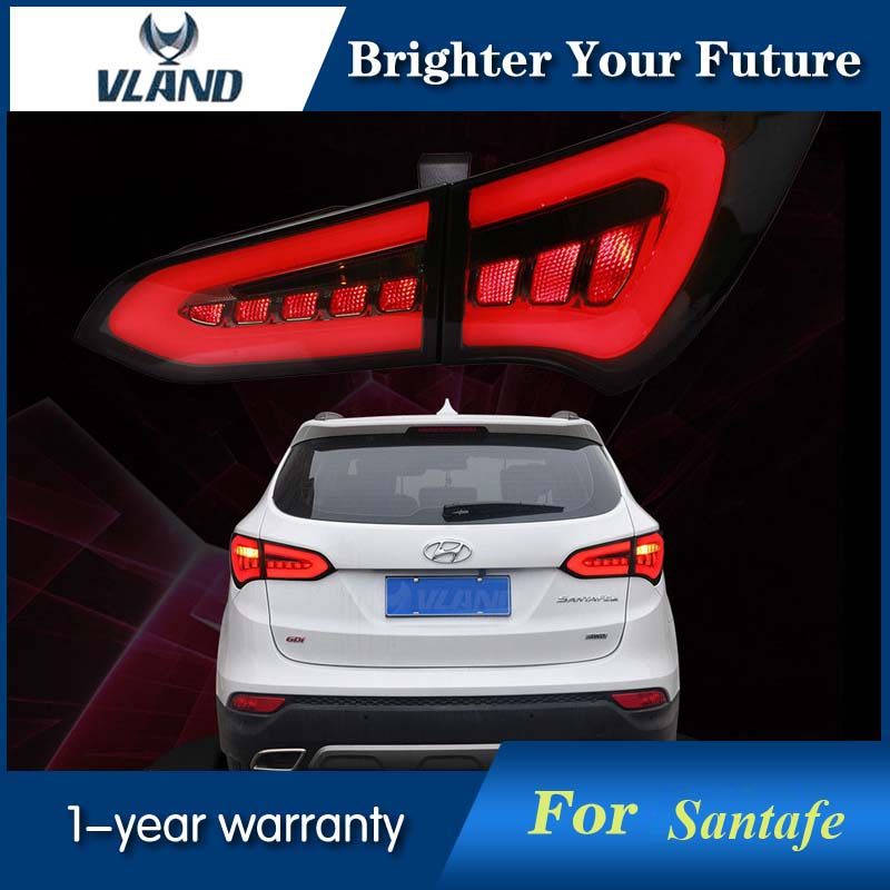 LED Tail Lights Fit For Hyundai Santa Fe IX45 2013 2014 2015 2016 2017 LED Rear Lamp Smoked Black and Red сумка fiato 1670 safiano beige