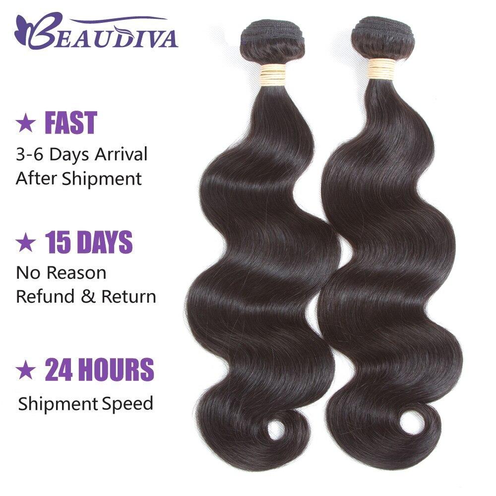 BeauDiva Hair Peruvian Body Wave 2PCS/lot Peruvian Hair Body Wave Bundles Natual Black Clolor 100% Human Hair Bundles