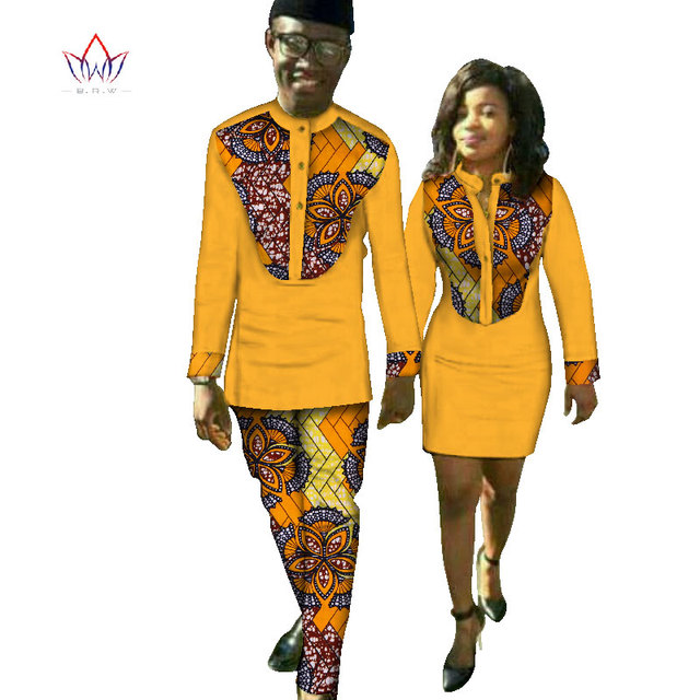 New Lovers Womens Mens African Clothing Two Sets Matching Couples African Clothes long Sleeve summer wedding dress 6XL WYQ37