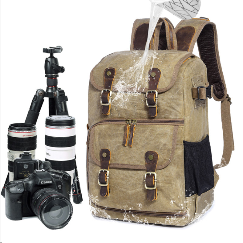 Waterproof Large Capacity Wax Dye Canvas Backpack Outdoor Bag Camera Bag SLR Camera Shoulder Photography Backpack