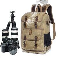 Waterproof Large Capacity Wax Dye Canvas Backpack Outdoor Bag Camera Bag SLR Camera Shoulder Photography Backpack