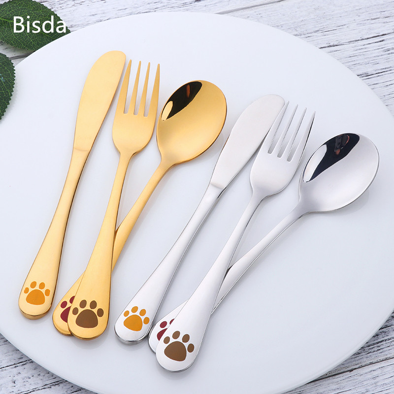 Children Cutlery Set 18 10 Stainless Steel Flatware Set Fork Knife Spoons Silverware Set Home Tableware