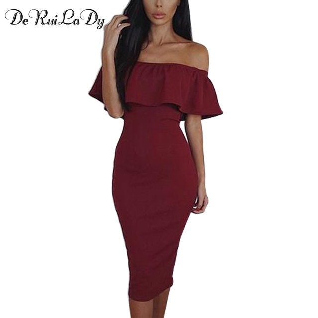 DeRuiLaDy Women Casual Maxi Dress Summer Fashion Off Shoulder Bodycon Dresses Womens Club Party Sexy Pencil Dress vestidos