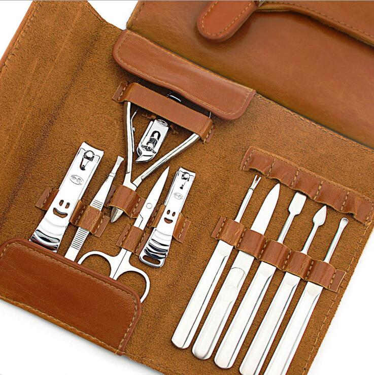 11pc Ledertasche Professional Nail Kit Maniküre Pediküre Set - Nagel Kunst - Foto 2