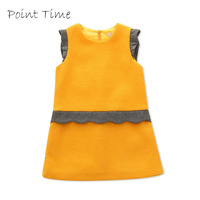 2015 Fashion Baby Girls Ruffle Dresses Knee Length A Line Cotton Solid Dress Toddler Girl Clothing