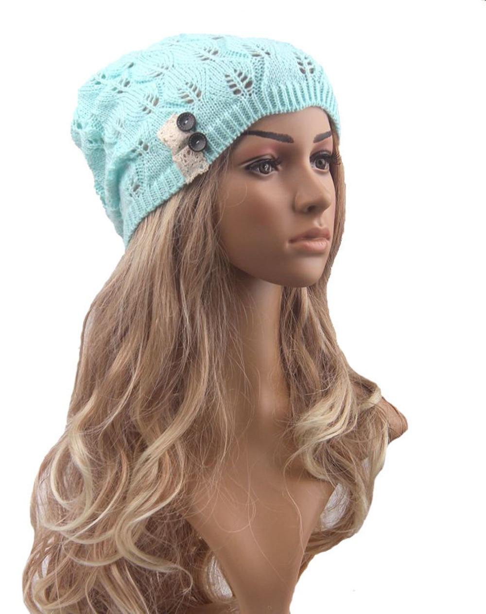 Women Spring Hat New Knit Baggy Beanie Hats Winter Warm Caps Hat Female  Girl Elegant Button Solid Gorros Bonnet Warm Bones Touca-in Skullies    Beanies from ... 4de2b0ec6531