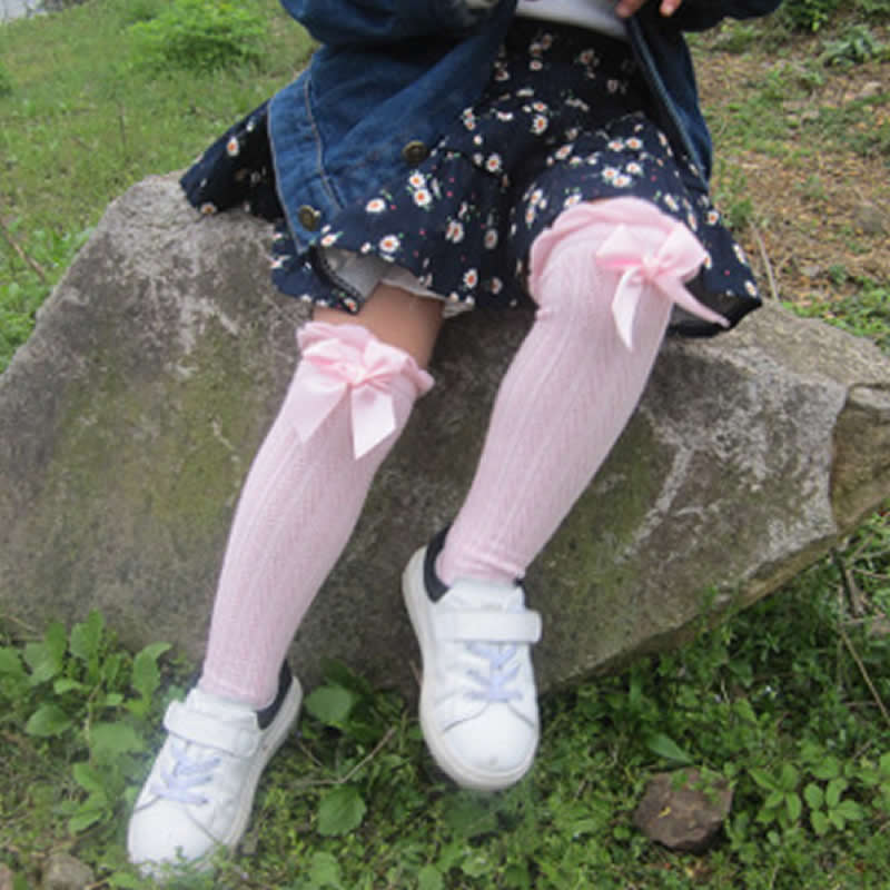 Гетры для девочек; хлопковые корейские милые кружевные Гольфы с бантом для маленьких девочек; гетры принцессы; Танцевальные чулки для девочек