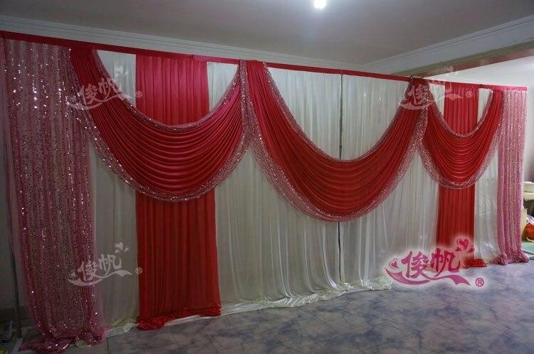 Ледяной шелк белый свадебный фон с фиолетовые пайетки Swag пользовательский цвет роскошный свадебный фон для свадебной вечеринки декор