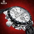 Función Cronógrafo Cronómetro 6 Manos 24 Horas SKONE Relojes Deportivos Militar Hombres Banda de Acero Reloj Ocasional del relogio masculino