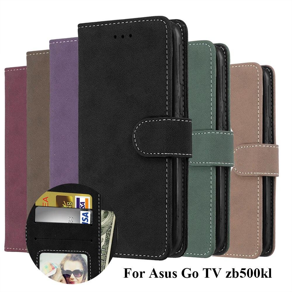 Wallet Case For ASUS Zenfone GO TV ZB500KL ZB500KG Flip Cover Matte 3 Card Leather Stand Holder Cases For ASUS GO zb500kl Shells
