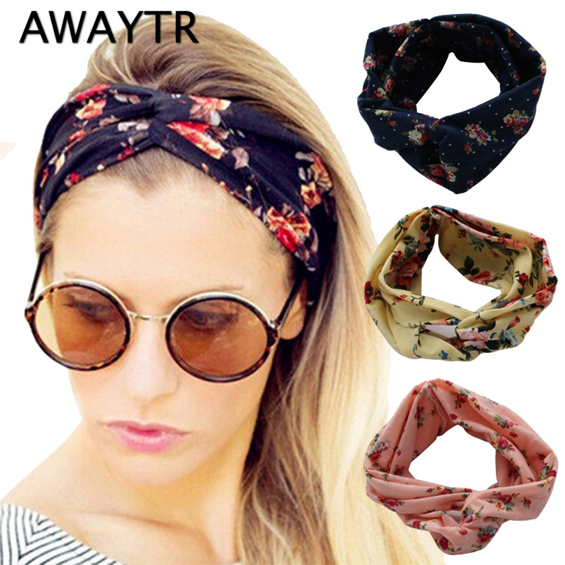 2017 Fashion Retro Women Ethnic Turban Twisted Knotted Elastic Headband Floral Wide Stretch Girl Casual Hair Accessories metting joura vintage bohemian green mixed color flower satin cross ethnic fabric elastic turban headband hair accessories