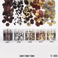 1Box 10ml Mixed Coffee Black Silver Nail Glitters Powder Sheets Tips 1mm&2mm&3mm Nail Powder Nail Decoration