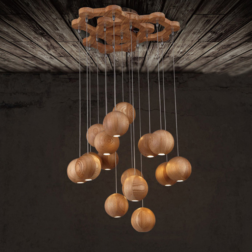 Modern solid wood ball chandelier for dining/living room,7/10 heads vintage wood ball pendant lamp fixture for foyer/restaurant wood chandelier wood light restaurant bar living room wooden restore ancient 3 6 heads pendant lamps wl32213