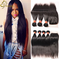 8A Malaysian Virgin Hair With Closure Straight Human Hair Weave Bundles With Lace Closures Mocha Hair Products With Closure
