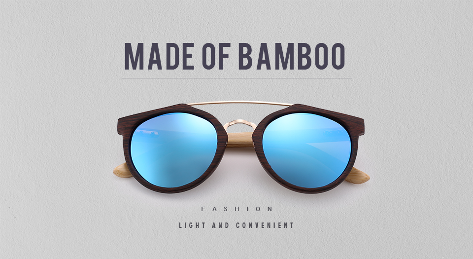 Bamboo Men Women Natural Frame Sunglasses 11