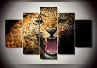5 Panels Printed Animal Leopard Group Painting Decor Print Poster Picture Canvas Painting Free Shipping