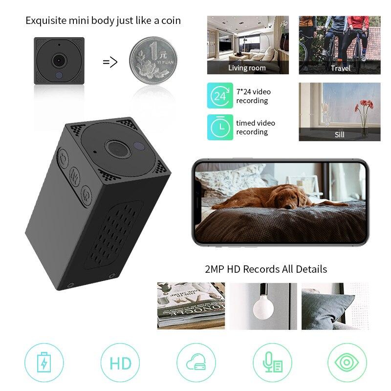 Meisort V20 MINI caméra WIFI 1080 P caméra IP sans fil caméra de sécurité à domicile Surveillance 2400 mAh batterie à l'intérieur