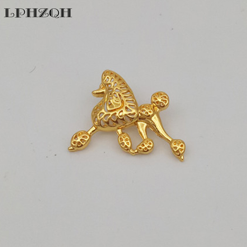 Wholesale Cute Cartoon Poodle Dog Broches Butterfly Clasp Collar Pin Funny Metal Jewelery Clothing Accessories Women Men's Gift
