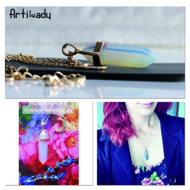 Artilady opale naturale anello di pietra di luna choker della collana dell'oro di modo di colore di pietra in pietra collana pendente di cristallo per le donne 11