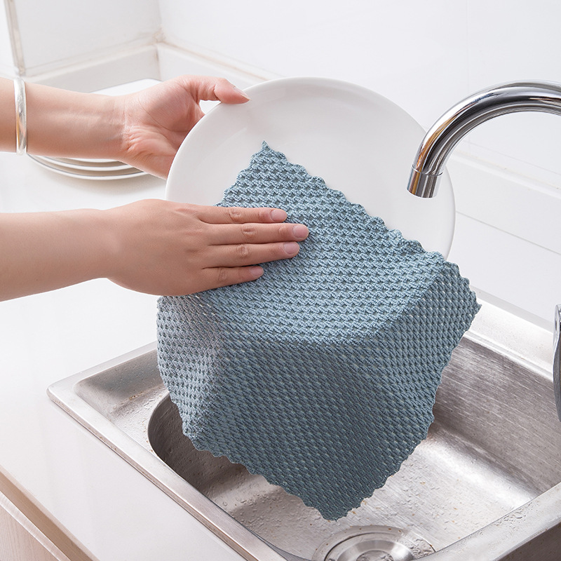 Image 3 - FOURETAW 1 Piece Home Kitchen Car Non greasy Rag Towel Super Absorbent Clean Cloth Sink Cleaning Towels Household Cleaning Tools-in Cleaning Cloths from Home & Garden