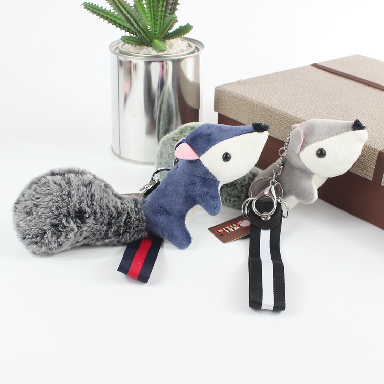 Bamboo Charcoal Fox Keychain Keyrings Women Bag Plush Accessory Charm Pendant Mini Stuffed Toy Cloth Wrist Rope Key Chains Gift