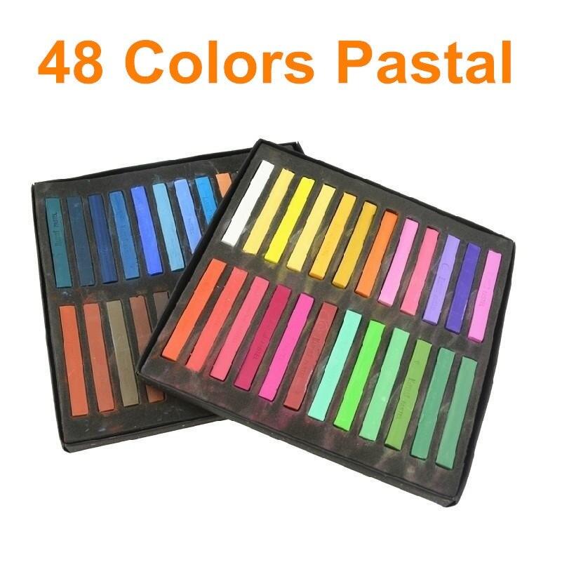 48 colores pastel suave stick Masters pastel arte popular y temporal pelo Color Tizas articulos de papelería