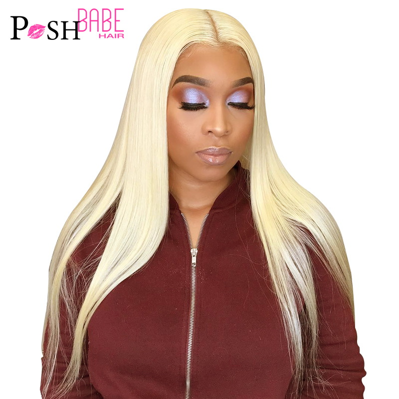 613 Honey Blonde Lace Front Human Wigs 8 - 26 Inch Long Malaysian Straight Hair Ombre Colored 1B 613 Preplucked Lace Frontal Wig