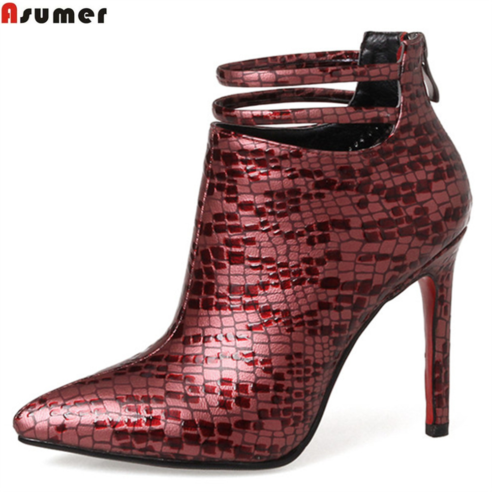 ASUMER 2018 hot sale new arrive women boots pointed toe high quality pu ladies boots super