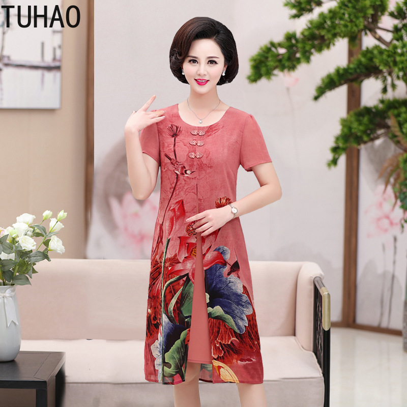 BIG SIZE 3XL 4XL 5XL Middle Aged Women Flower Casual Dress Spring Summer Two Piece Dress Dresses Party Plus Size LZ82