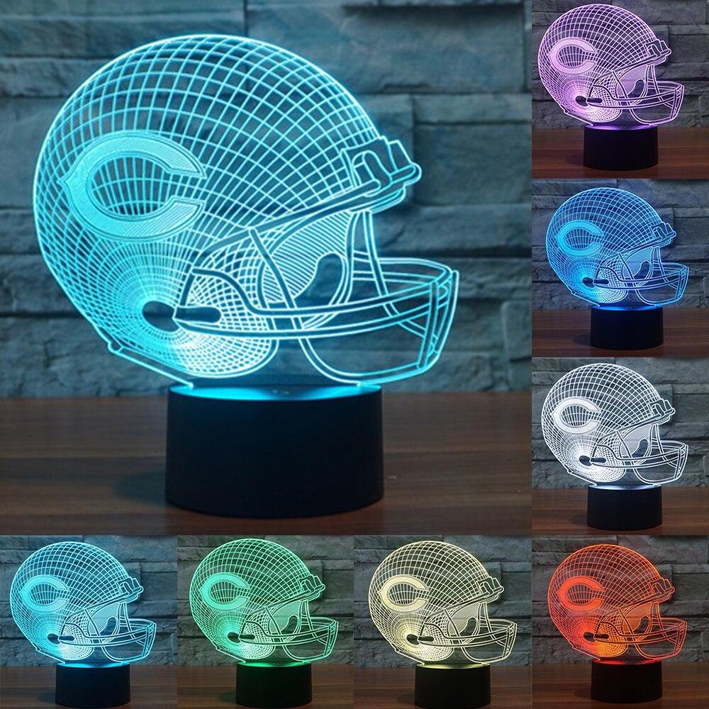 NFL Team Logo 3D Light Chicago Bears Football Helmet Sport Cap 3d LED Night Light colorful table desk Lamp touch switch IY803657