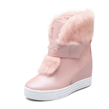 ที่อบอุ่นf auxขนรองเท้าหิมะกันน้ำผู้หญิงฤดูหนาวแฟชั่นสุภาพสตรีข้อเท้าบู๊ทส์ขนาดใหญ่34-43สีขาวสีเบจสีชมพูสีd ropshipping