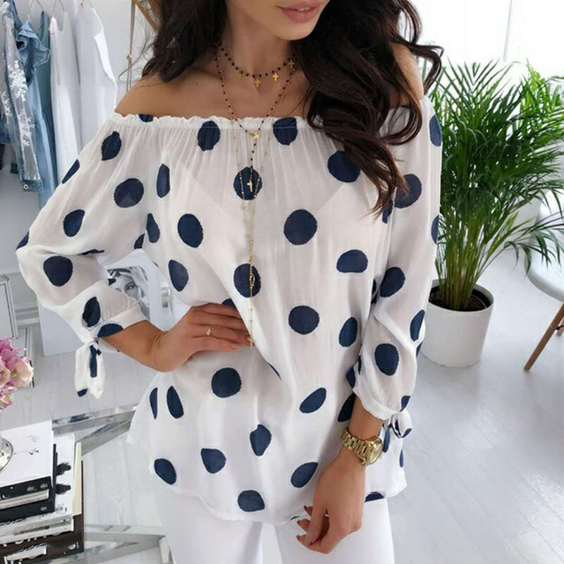 Autumn Polka Dot Shirt Blouse Women Long Sleeve Sexy Off Shoulder Top Loose All-match Women Shirts Blusas Plus Size 5XL WS9516M 4