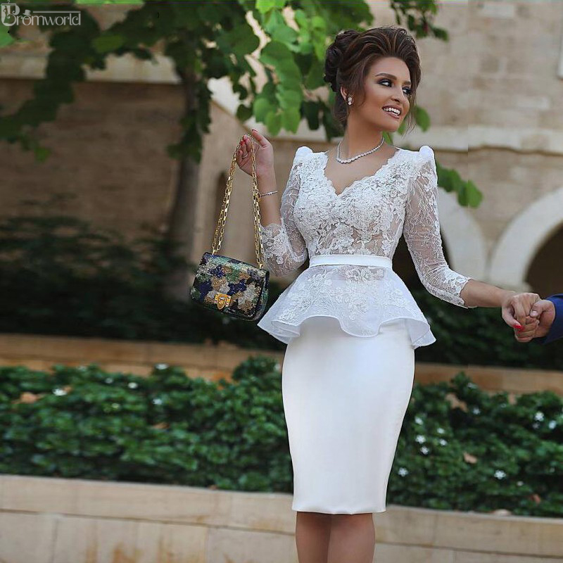 Elegant   Cocktail     Dresses   White 2019 V-neck 3/4 Sleeves Lace Knee Length Party Gown Graduation Homecoming   Dresses