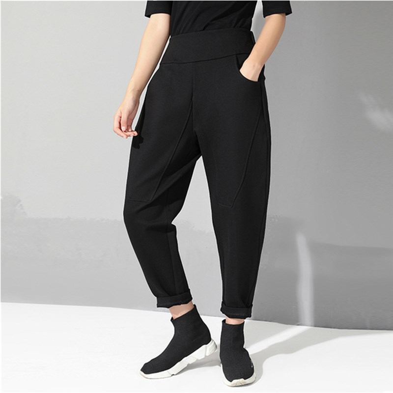 Black Vintage High Waist Elastic Harem Pants Women Pocket Patchwork Clothes Loose Casual Trousers Fashion 2019 Autumn Winter