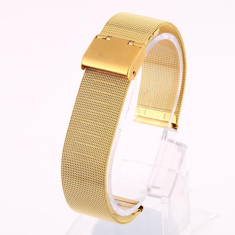 /est / 12-24mm Universal Stainless Steel Metal Milanese Watchband Watch Band Strap Bracelet Black Rose Gold Silver