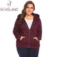 IN'VOLAND Big Size XL 5XL Women Hoodie Hooded Spring Autumn Casual Long Sleeve Pockets Large Sweatshirts Zip up Coat Plus Size
