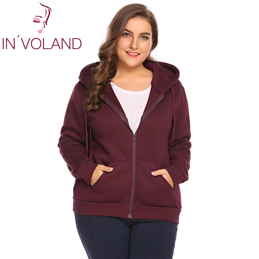 IN'VOLAND Plus Size XL-5XL Women Hoodies Hooded Casual Autumn Spring Long Sleeve Zip-up Sweatshirt With Pockets Female Hoodie