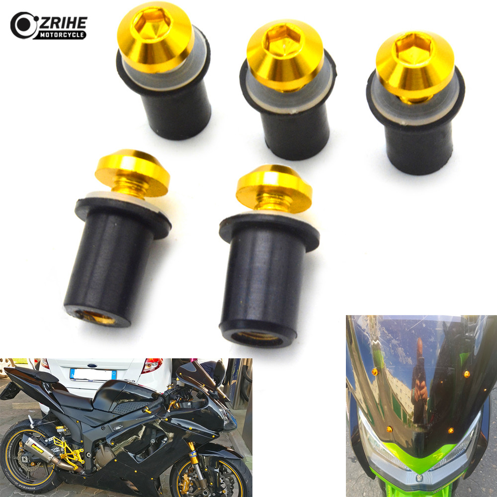 motocycle part 5mm Golden Front Windshield Bolt Fixed nuts bolt caps For Ducati 1000SS 916 916SPS 996 998 999 B S R Diavel