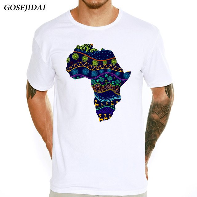 Mens Fashion African Map Design Elastic Feature T Shirt Spring
