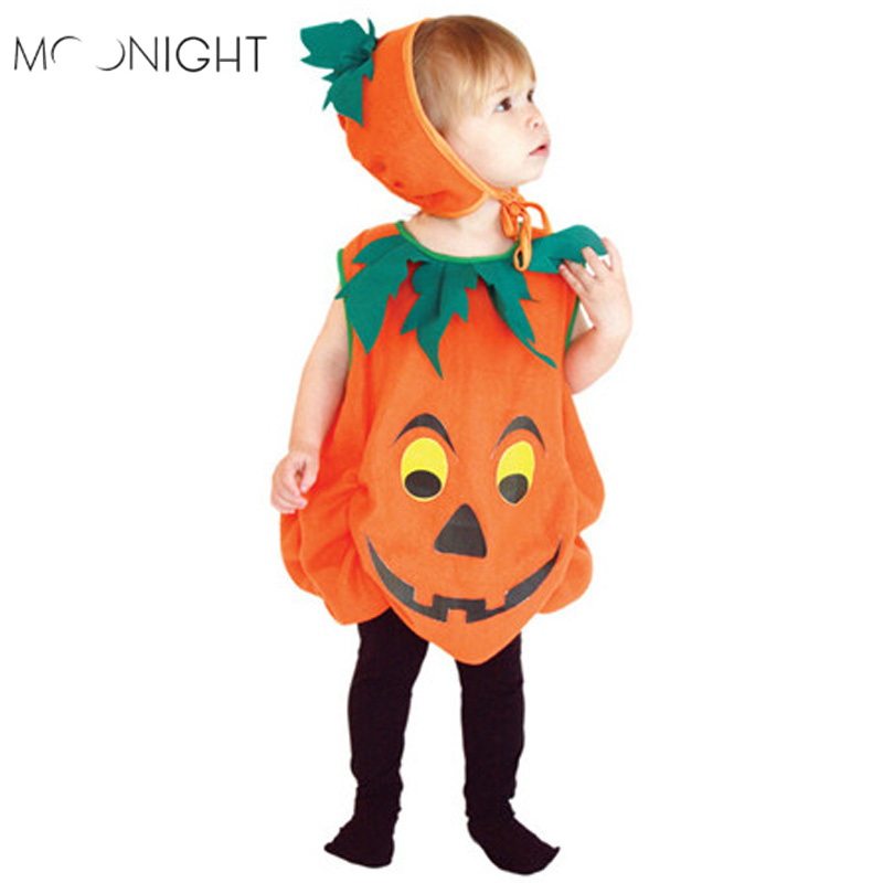 MOONIGHT Halloween Costumes For Children Unisex Pumpkin Festival Carnival Cosplay Costumes For Kids Stage Performance Costumes