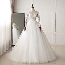 HIRE LNYER O-neck Wedding Dresses Long Sleeve 2019 Ivory