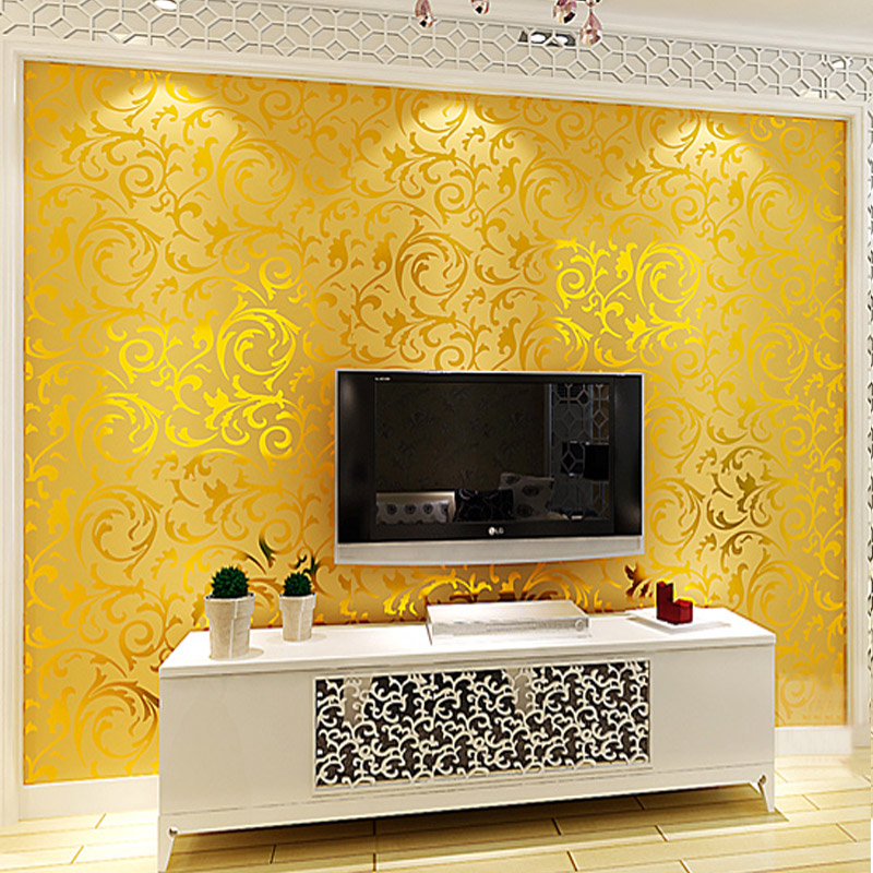 beibehang Golden foil wallpaper rolls Papel de parede 3D murals damask wall paper roll modern papier peint papel contact paper european style simple wallpaper non woven 3d wall paper home decor wall murals papier peint papel de parede para quarto jr018