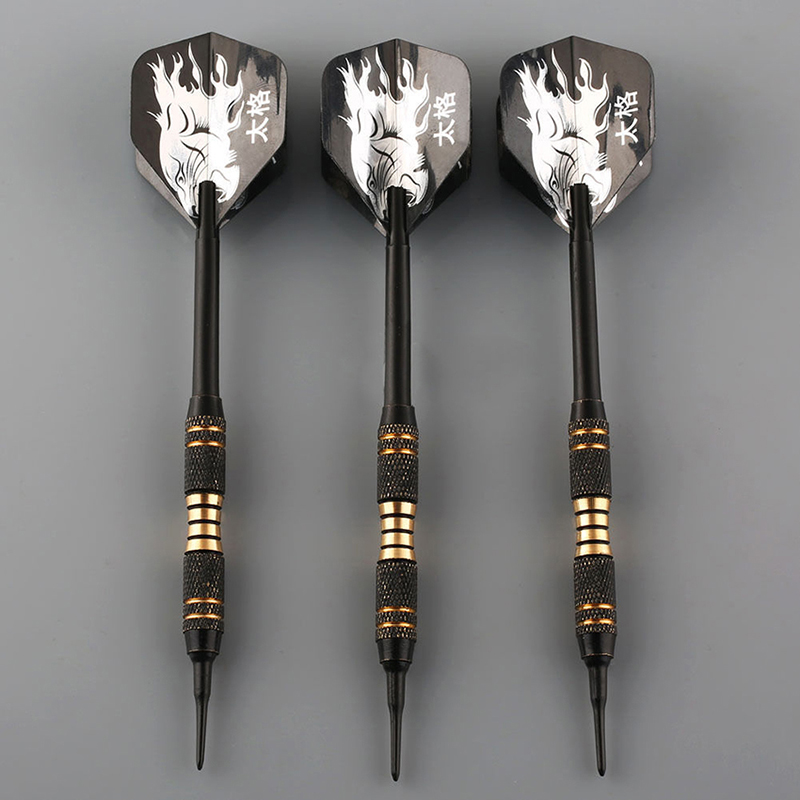 3PCS/set Black Professional Darts 18g Safty Soft Darts Electronic Soft Tip Dardos For Indoor Professional Dartboard Games