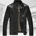 Hombre chaqueta de cuero de piel de oveja de alta calidad de 2017 nuevo collar del soporte más el tamaño M; L; XL; XXL; XXXL prendas de vestir exteriores de la chaqueta de la motocicleta
