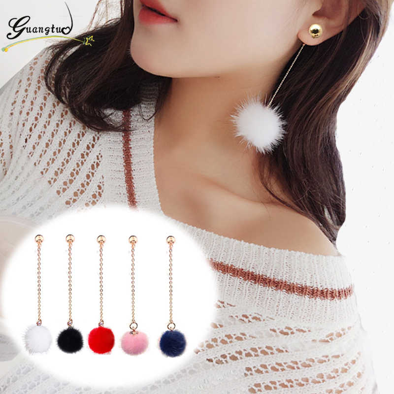 Fashion 5 Colors Pompom Fur Ball Long Drop Earring For Women Statement Piercing Jewelry Bijoux Brincos Lovely Dangle Earrings