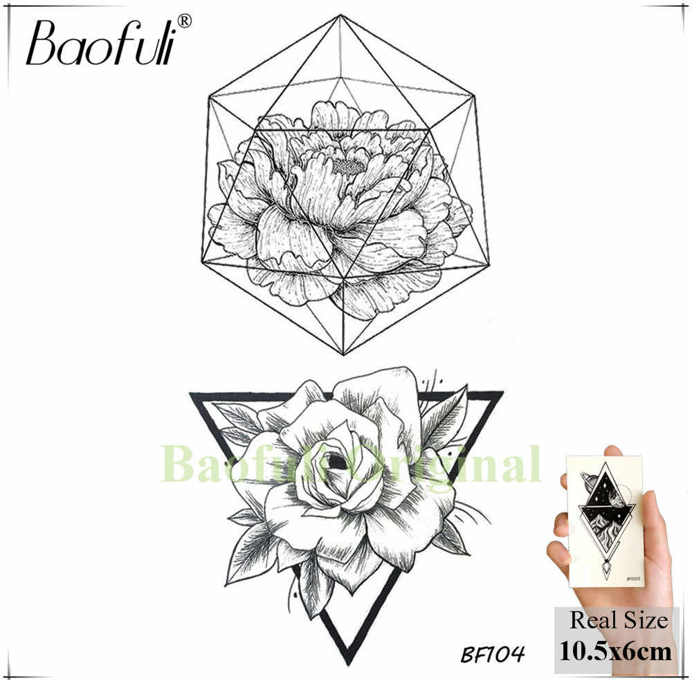 Baofuli Sketch Rose Triangle Flower Tattoos Geometric Black Drawing Girl Tatoo Waterproof Temporary Body Arm Art Tattoo Stickers