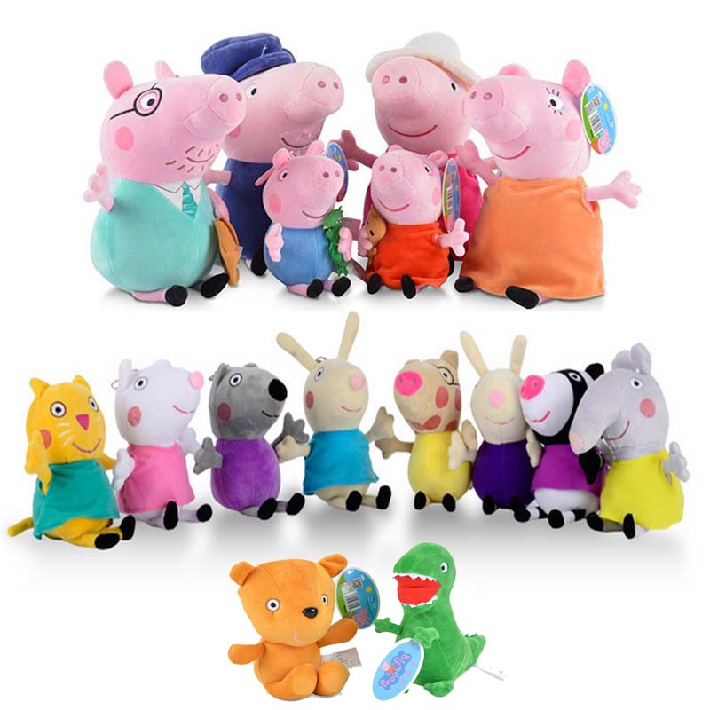 Peppa Pig George pig 13cm and 19cm Family friends Plush Toys Soft Stuffed Cartoon Animal Doll for Children's Family Party