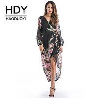 HDY Haoduoyi Chiffon Dress Sexy V Nceck Front Split Hollow Out Dresses Women Long Sleeve Sun